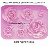 Rose mold, Flower mold, silicone cake mold, ornate mold, Free worldwide shipping